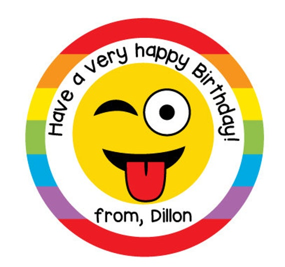 Emoji Birthday Stickers, Personalized Gift Labels For