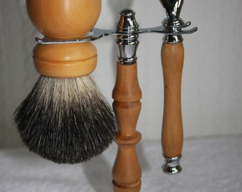 Wooden Shaving Set, Boxwood, Hand-turned