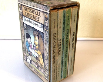 Maurice Sendak - Nutshell Library 1962 4 Miniature Children's Books in Slipcase HBDJ