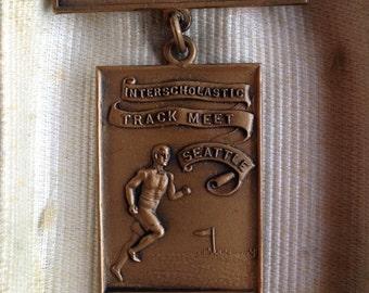 Antique Track Medal 100 Yard Dash University of Washington Interscholastic Track Meet Joseph Mayer Seattle