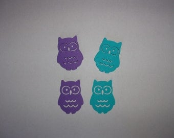 Owl Die Cuts, Large Table Confetti - Medium Purple, Teal Cardstock Paper Baby Shower Birthday Party Decoration Shape Card Making Supply