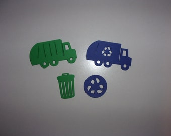 Garbage & Recycle Truck Can Die Cuts, Large Table Confetti Royal Blue, Green Cardstock Paper Shape Baby Shower Birthday Party