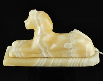 Vintage Hand Carved Alabaster Egyptian Sphinx Glow Lamp/Night Light