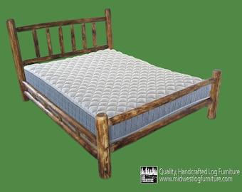 Torched Cedar Log Bed - Double Log Side Rails