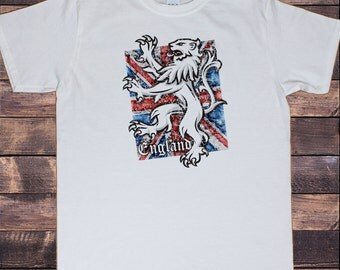 Mens White T-Shirt England Union Jack Distressed Lion Proud British Print TSY5