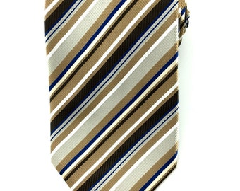 Mens Necktie Brown Blue White Striped 8.5cm Necktie. Brown Neckties. Wedding Ties. Groomsmen Neck Tie. Business Ties. Formal Stripes Ties.