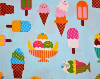 Fabric destash 1 fat quarter Confections  by Caleb Gray for Robert Kaufman Ice Cream Sundaes cones and popsicles