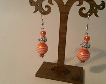Orange and silver drop earrings