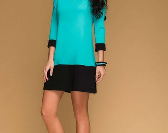 Bright Short Dress Tunic.Retro Inspired Casual Dress.Mini Dress Mod. Woman  Dress Modern