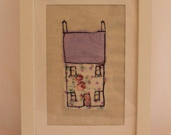 Original handmade fabric art, little pink house, applique art