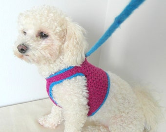 Crochet DOG harness, Dog Harness Vest, Matching leash, Pets Harness - Small dog harness