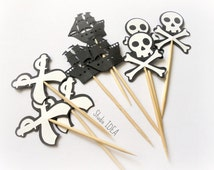 Black & White Pirate Theme Toppers, Pirate Ship, Skull with Bones, Pirate Swords Food picks, Cupcake Toppers -or CHOOSE YOUR COLORS