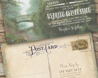 Personalised Rustic Photographic Summer Green Vintage Postcard Wedding Invitations