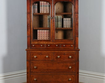 Antique Welsh (Anglesey) Georgian Oak & Mahogany Housekeepers Kitchen Food Cupboard / Bookcase / Display Cabinet (Circa 1810)