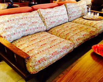 Mid Century Modern ADRIAN PEARSALL Walnut Wood Danish Style  Sofa Vintage 1950's Fabulous High End Bakers Fabric, Stunning!
