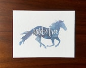 Horse Postcards Wild and free multipack post cards letter card mailing postal holiday travel notecard notes logo free