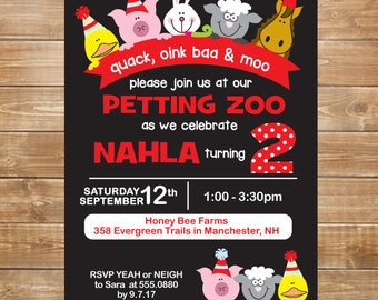 Petting Zoo Birthday Invitation, Petting Zoo Party, Farm Party Invite, DIY, Printable