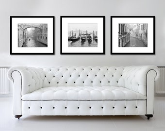 SALE, Venice Print Set, Black and White Photography, Fine Art Print, Travel, gondolas, Italy Photo, Europe, Wall Art, Home Decor, Set of 3