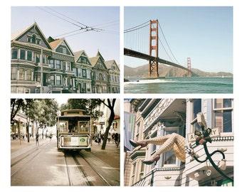 SALE, San Francisco Print Set, San Francisco Photography, Golden Gate Bridge, Cable Car, California Wall Art, Set of 4 prints