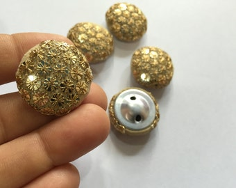 3 Fabric Covered Cream buttons,Sequins Buttons,Wedding buttons,Decorative Buttons,costume buttons,Handmade Buttons,Embroidery fabric Buttons
