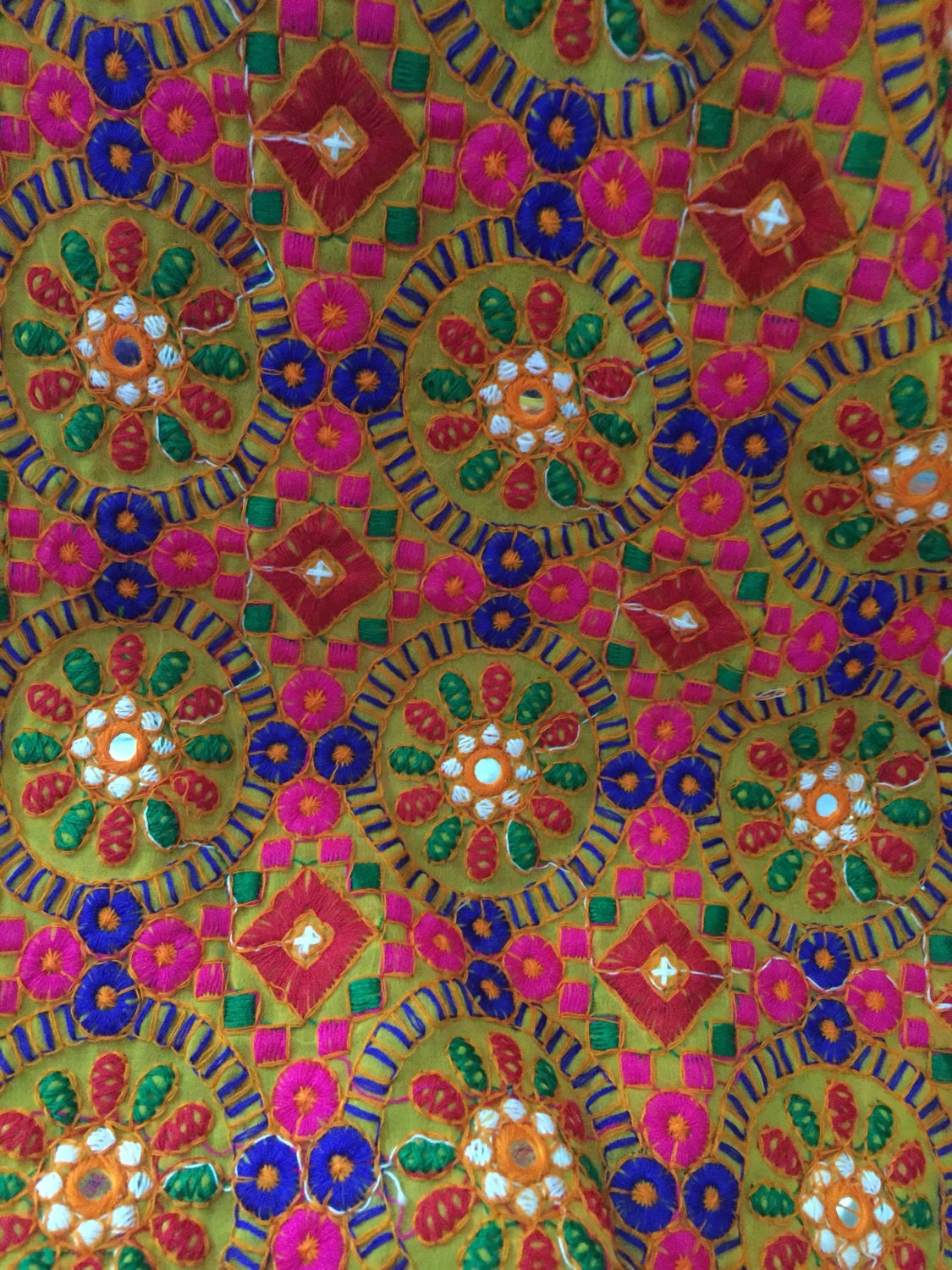 Indian Embroidered Sarees: 1 Yard Kutch Embroidery Fabric, Indian Embroidered Fabric