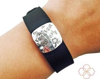Activity Tracker Charm to Accessorize Fitbit or Other Trackers - The FOREVER GREEN Engraved Silver Charm to Dress Up Your Fitness Tracker