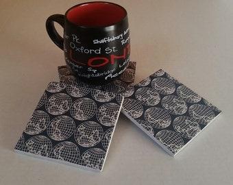 Set of Four Globe Ceramic Coasters / World Map Coasters / Globe Coasters