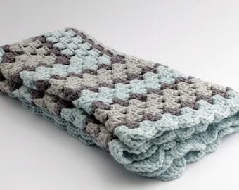 crochet Baby blanket // Granny Square //Gray light blue // Baby Boy