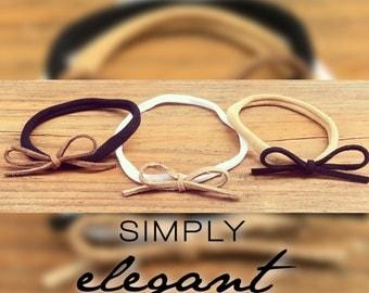 Suede Bow Nylon Headband/Leather/Bow/Simple/Tiny/Baby headbands/girls