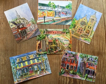 "Moorestown Medley Postcards. Glossy 4.25"" x 6"". Print of Original Painting. Packets of 6 and 12 Postcards of your choice."