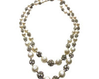 Double Strand White Pearl and Rhinestone Necklace