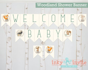 Sweet Woodland Baby Shower Banner | Welcome Baby Banner Decor | Woodland Baby Animals Baby Shower Decoration