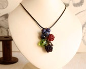 Pendant with berries, a large pendant, glass berries,  lampwork glass beads, art glass, glass raspberries, glass gooseberries, fruit jewelry