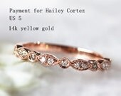 Payment plan for Hailey Cortez 14k  Gold Stackable Diamond Wedding Bands Half Eternity Ring/Engagement ring/Love Ring