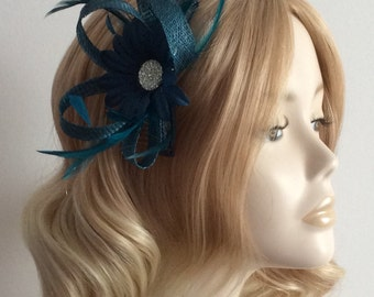 TEAL SINAMAY FASCINATOR, Daisy flower,Feathers, on a comb