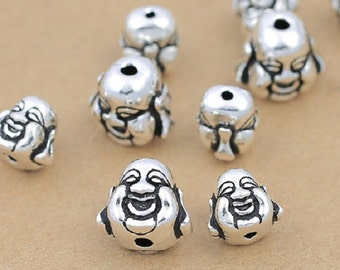 2 HAPPY BUDDHA Beads Sterling Silver, 925 Silver Buddha Beads, Sterling Laughing Buddha Beads, Silver Buddha Statue Beads - E577