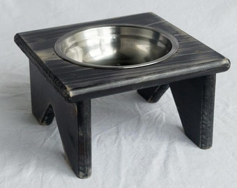 Pet Bowl Stand - Wooden - 1 Bowl - Cat Bowl or Dog Bowl