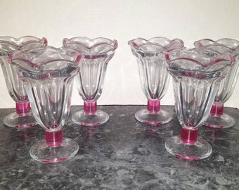 Set of 6 Vintage Sundae Glasses with Pink Accent / Pink Clear Sundae Glasses / Ice Cream Glasses / Malt Shake Glass