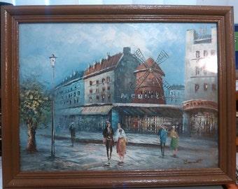 Oil on canvas painting signed burnett moulin rouge paris 16 x 12