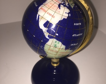 Gemstone World Globe, Lapis, Agate, Vintage,  6 inches tall