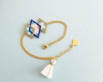 Bracelet tissé à l'aiguille, en perles de verre japonaises Miyuki, apprêts dorés à l'or fin 24 carats