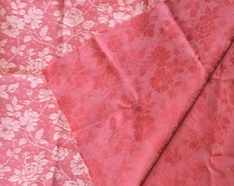 Salmon Coral Embossed Floral Fabric Remnant