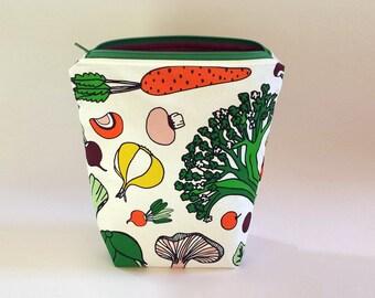 Medium Knitting Project Bag, Vegetables Zipper Project Bag, Crafter Project Bag