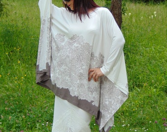 Off white and cappuccino oversize tunic dress/Elegant tunic/Boho tunic/Gorgeous tunic/Party tunic/Summer tunic/Floral tunic/Large size tunic
