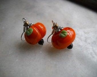 Pumpkin Earrings- Fall Earrings- Halloween Earrings- Orange Earrings- Fun Earrings