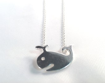 Whale Spouting Water Necklace