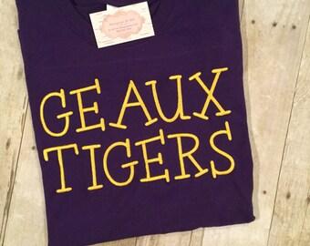 Geaux Tigers Monogrammed Tee, LSU Monogrammed Tee