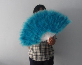16*32inch Large  Feather Fan Burlesque Dance feather fan Bridal Bouquet Turquoise