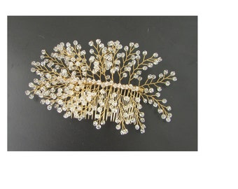 Large Gold Clear Bead Gypsophila Hair Comb Wire Vine Headpiece Bridal Vintage 84