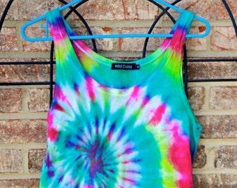 Tie Dye Crop Top - Handmade - Loose fit - Spiral Tie Dye - Festival Fashion - 100% Cotton